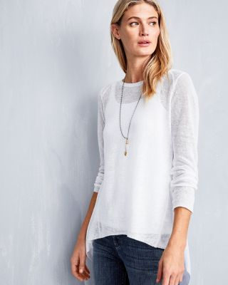 Eileen Fisher Organic-Linen High-Low Tunic Sweater Petite