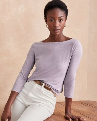 Essential Three-Quarter-Sleeve Boatneck Tee