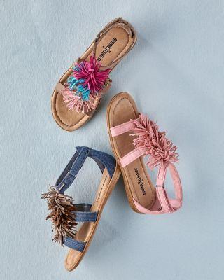 Girls' Minnetonka Pom-Pom-Fringe Sandals