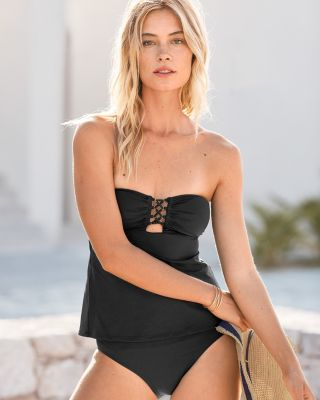 Michael Kors Lace-Up Bandeau Tankini Top and Bottom