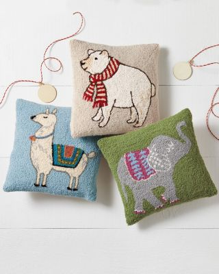 Hooked-Wool Animal Pillows