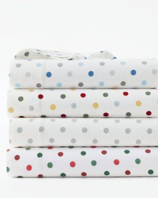 Polka-Dot Cotton Flannel Sheets
