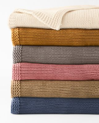 Cotton Chunky-Knit Throw and Pillow Cover