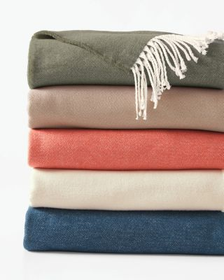 Brushed Cotton Throw With Fringe