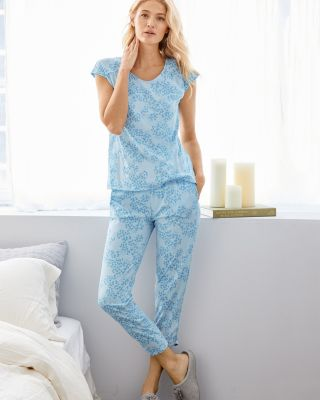 Organic-Cotton Ruched-Seam Knit Pajamas