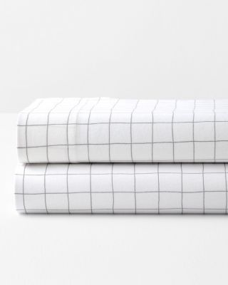 Windowpane Cotton Jersey-Knit Sheets