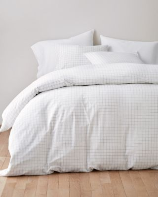 Windowpane Jersey-Knit Duvet Cover