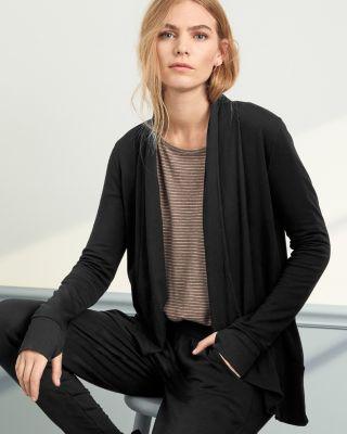 Draped-Front Rib-Detail Cardigan Sweater