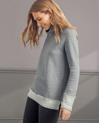 Organic-Cotton Cowl-Neck Sweatshirt