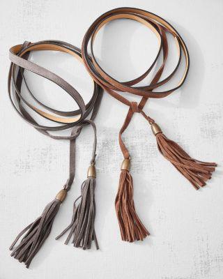 Italian Suede Vera Wrap Tassel Belt