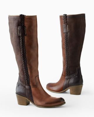 Carina Braid-Detail Leather Riding Boots
