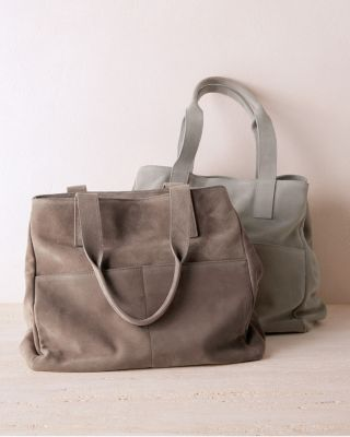 Italian Leather Sabina Pocket Tote Bag