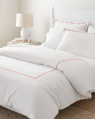 Garnet Hill Signature Dot Embroidered Percale Duvet Cover