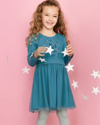Girls' Tulle and Knit Holiday Dress