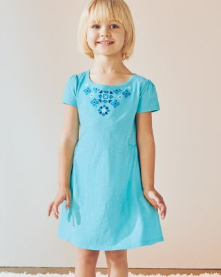 Girls' Organic Cotton Embroidered Knit Dress