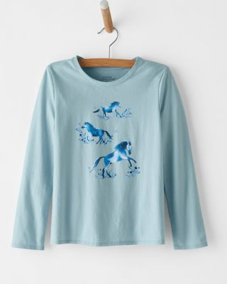 Girls' Organic-Cotton Long-Sleeve Graphic Tee Shirt