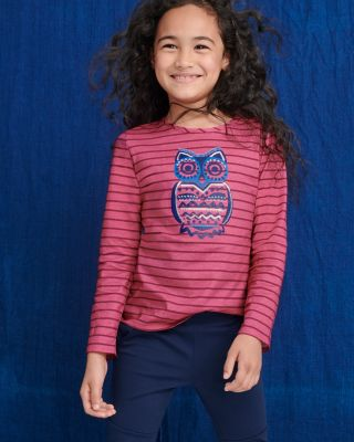 Girls' Organic-Cotton Embellished Graphic Tee Shirt