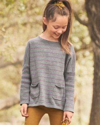 Girls' Boxy Pocket-Detail Sweater