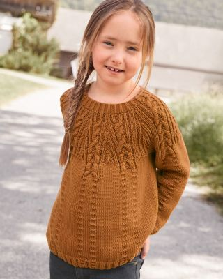 Girls' Cabled Pima Cotton Kinsley Sweater