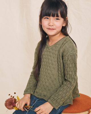 Girls' Open-Stitch Swing Sweater