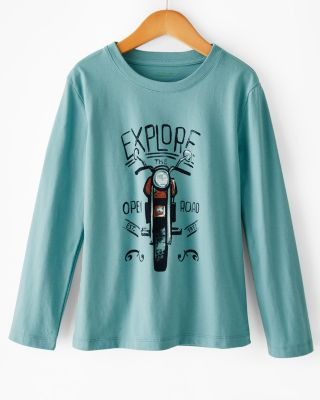 Boys' Long-Sleeve Organic Cotton Graphic Tee Shirt
