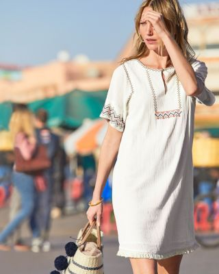 Lilla P Embroidered Short-Sleeve Dress