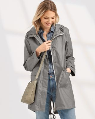 Women's Coated-Linen Trench Coat