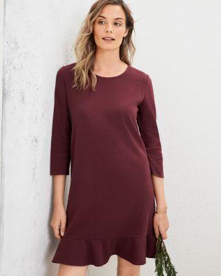 Organic Cotton Jewel-Neck Ponte Dress