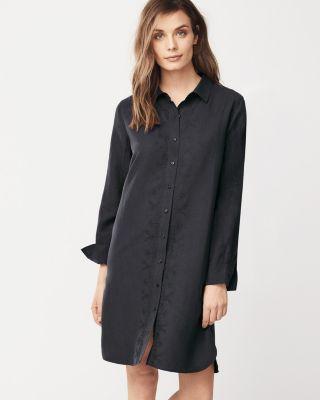 Silk & Linen Embroidered Shirtdress