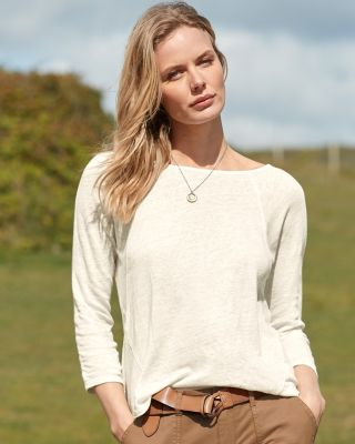 Organic-Linen Seamed Boxy Tee Shirt