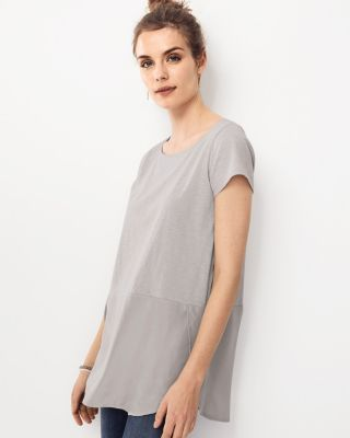 Silk-Skirted Surplice-Detail Tunic Top