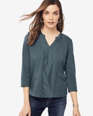 Silk-Trimmed Banded-Collar Tee Shirt