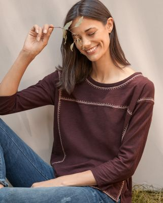 Organic Cotton Embroidered Boxy Top