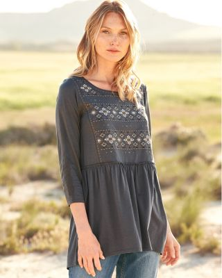 Embroidered Bohemian Knit Tunic Top