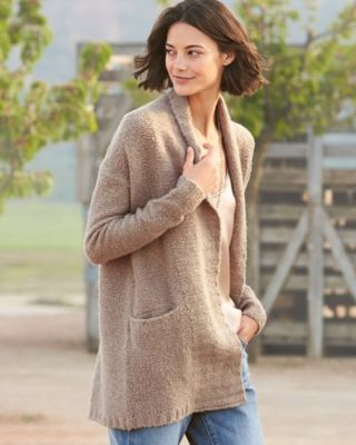 Cashmere-Blend Boucle Cardigan Sweater By Garnet Hill