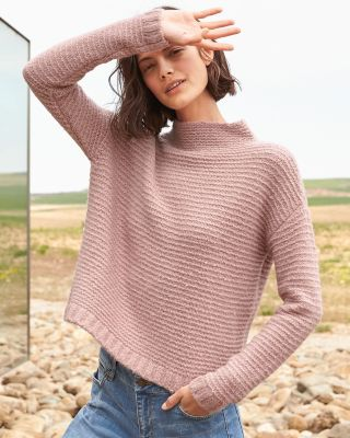 Cashmere-Blend Boucle Cropped Sweater