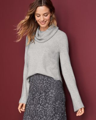 Cashmere Cropped Cowl-Neck Sweater