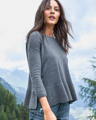 Cashmere Vented Rib-Detail Sweater