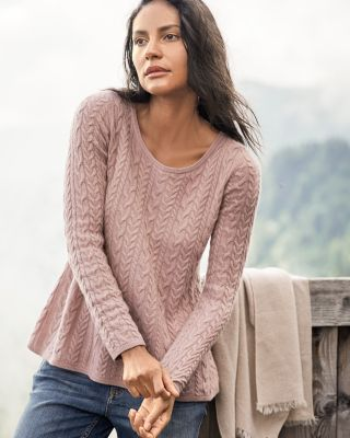 Cashmere Cable-Stitch Trapeze Sweater