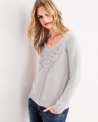 V-Neck Pointelle-Detail Sweater