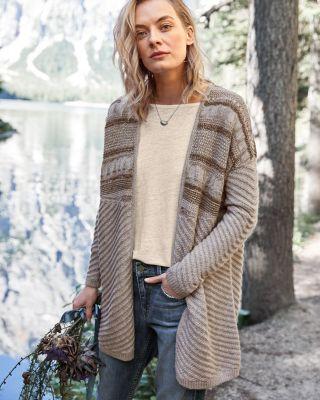 Alpaca Textured-Stitch Cardigan Sweater