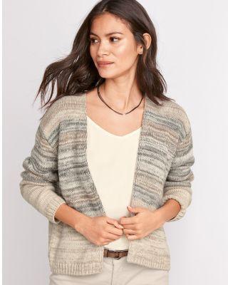 Marled Alpaca Open-Front Cardigan Sweater