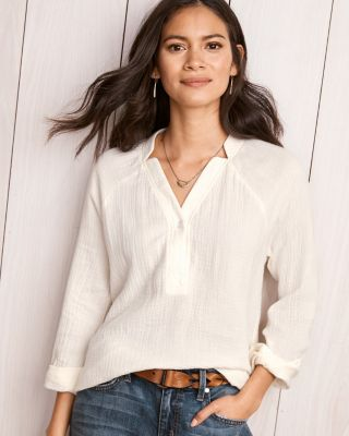 Notch-Collar Gauze Blouse