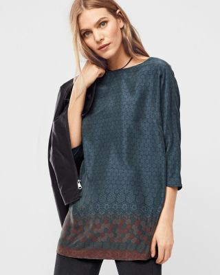 Three-Quarter-Sleeve Silk Tunic Top