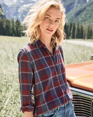 Women's Organic-Cotton Plaid Shirt
