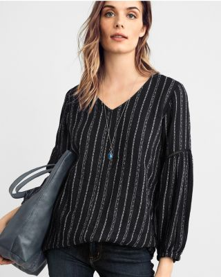 Poet-Sleeve Organic Cotton Tunic Top