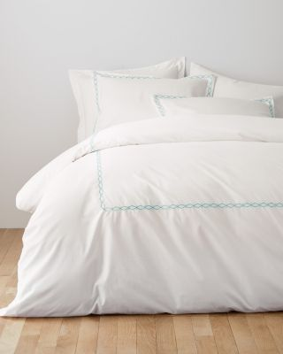 Garnet Hill Signature Wave Embroidered Percale Duvet Cover