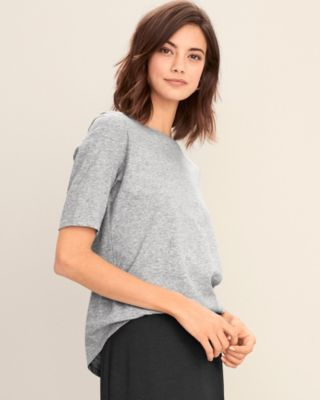 EILEEN FISHER Organic-Cotton Elbow-Sleeve Tee Petite