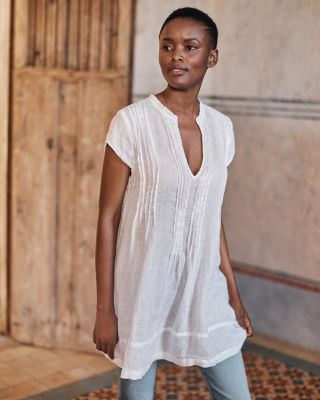 CP Shades Regina Cap-Sleeve Linen Tunic
