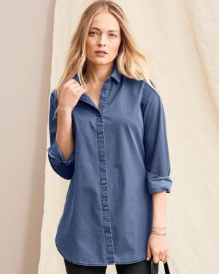 Organic-Cotton Long Tunic Shirt By Garnet Hill